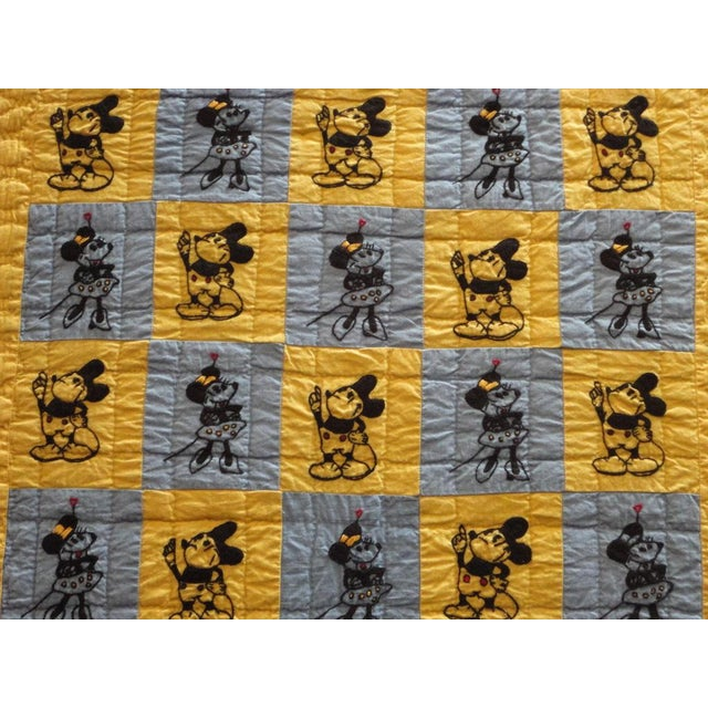 Mounted Folky and Rare Mickey & Minnie Mouse Crib Quilt - Image 3 of 7