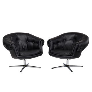 Vintage Overman Style Pod Chairs in Tufted Black Vinyl