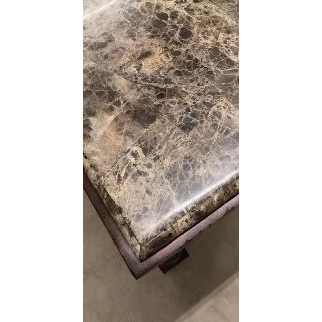 Metal Empire Drexel Heritage Marble Top Solid Wood Square Side Table For Sale - Image 7 of 12