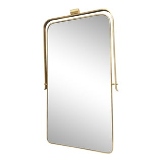 Circa 1950s Italian Brass Frame Mirror, Gio Ponti Attributed For Sale