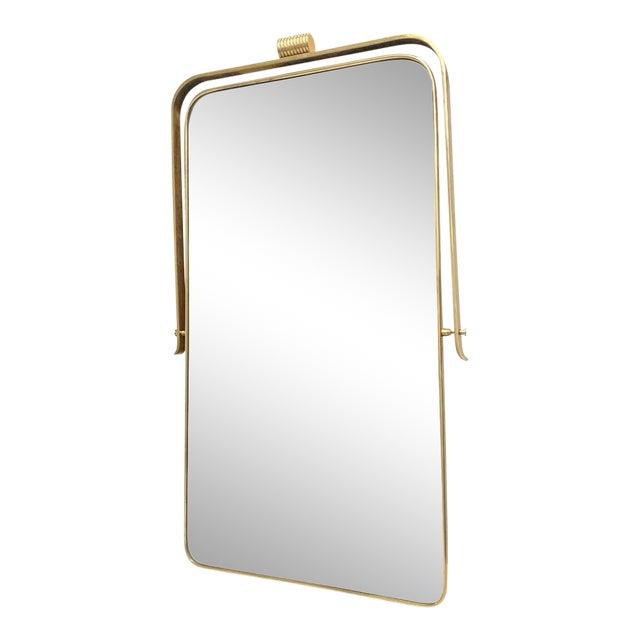Circa 1950s Italian Brass Frame Mirror, Gio Ponti Attributed For Sale
