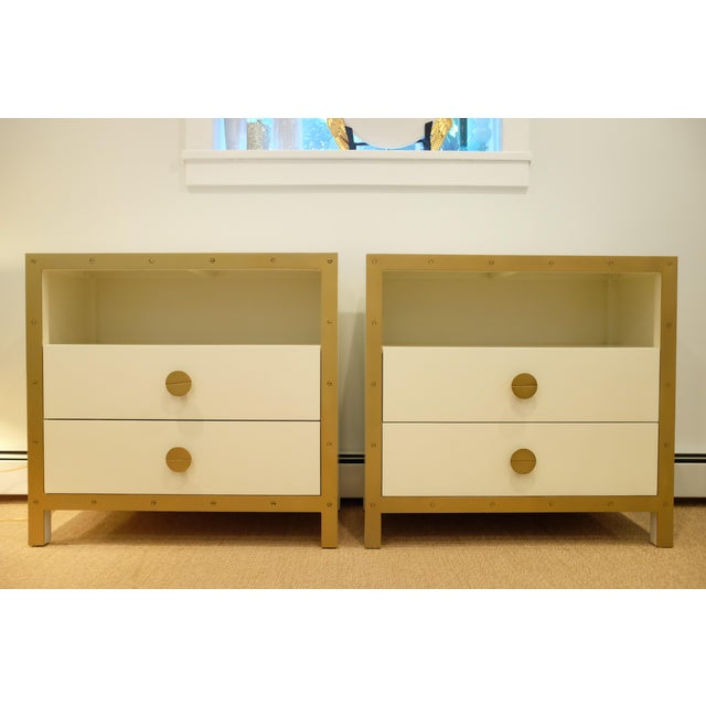 Lillian August Cream & Gold Chests/Nightstands - a Pair For Sale - Image 12 of 12