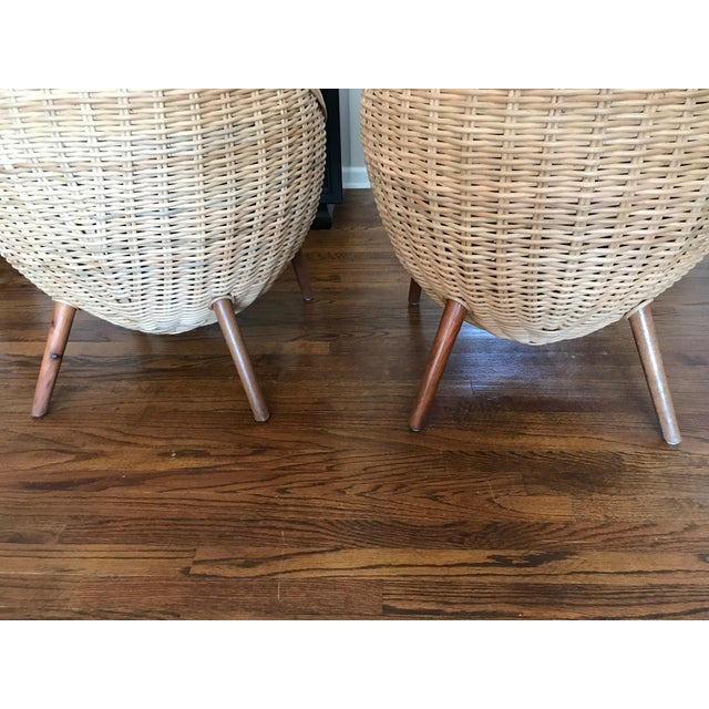 Rattan Barrel Tub Chairs Danish Modern Style With Wood Legs - Pair - Image 7 of 13