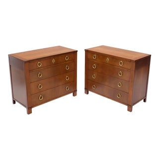 Pair of Baker Cherry Bachelor Chests Dressers with Heavy Solid Ring Pulls For Sale