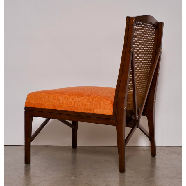 """American 1940s Antique """"American of Chicago"""" Mid-Century Modern Walnut & Cane Accent Chair With Side Table For Sale - Image 3 of 13"""