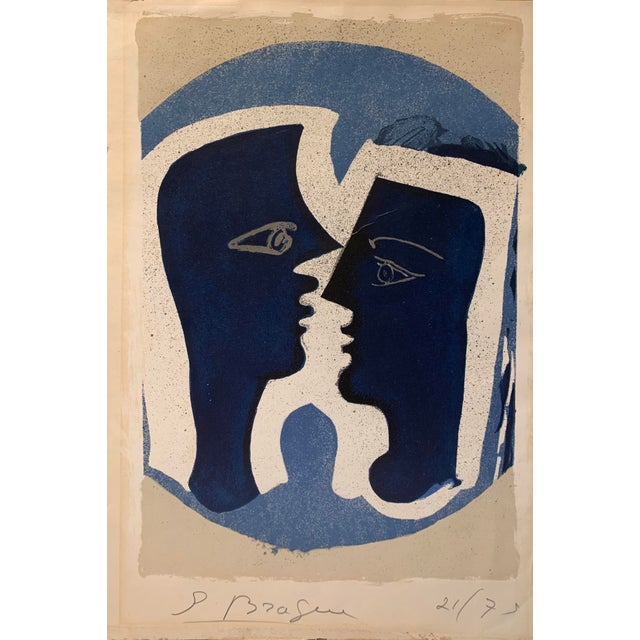 "Abstract Georges Braque ""Le Couple"", 1963 Le Signed Color Lithograph For Sale - Image 3 of 3"