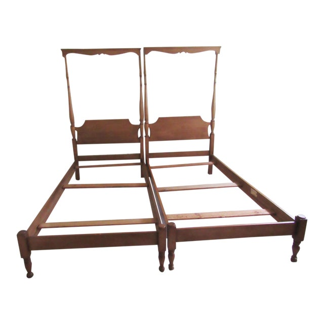 Solid Maple Pennsylvania House Mock Canopy Twin Beds - a Pair For Sale