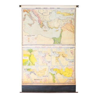 Large Industrial Pull Down Map of Oriental Empires For Sale