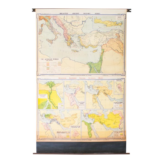 Vintage Pull Down Map of Oriental Empires | 1940s Industrial For Sale