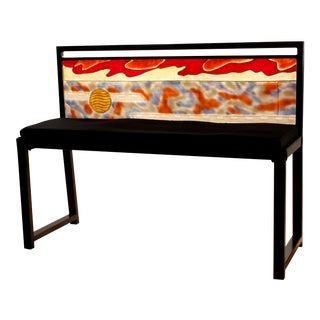 Zelle Glass Red Sky, Amber Sun Horizon Bench