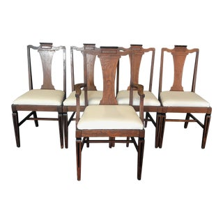 Louis XVI Style Oak Dining Chairs With Inlaid Marquetry - Set of 5 For Sale