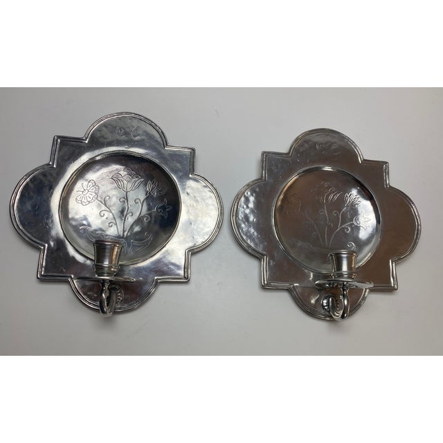 Pierre Deux Pewter Wall Candle Sconces - a Pair For Sale - Image 13 of 13