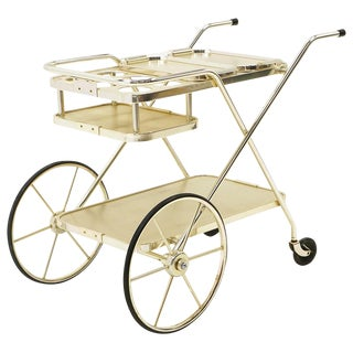 Bar / Serving Cart With Trays. Anodized Aluminum,Stainless and Chromed Steel. For Sale