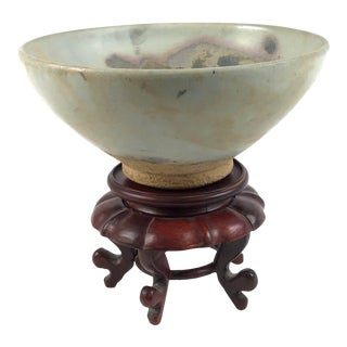 Chinese Junyao Style Oxidized Copper Pottery Bowl on Carved Rosewood Stand For Sale