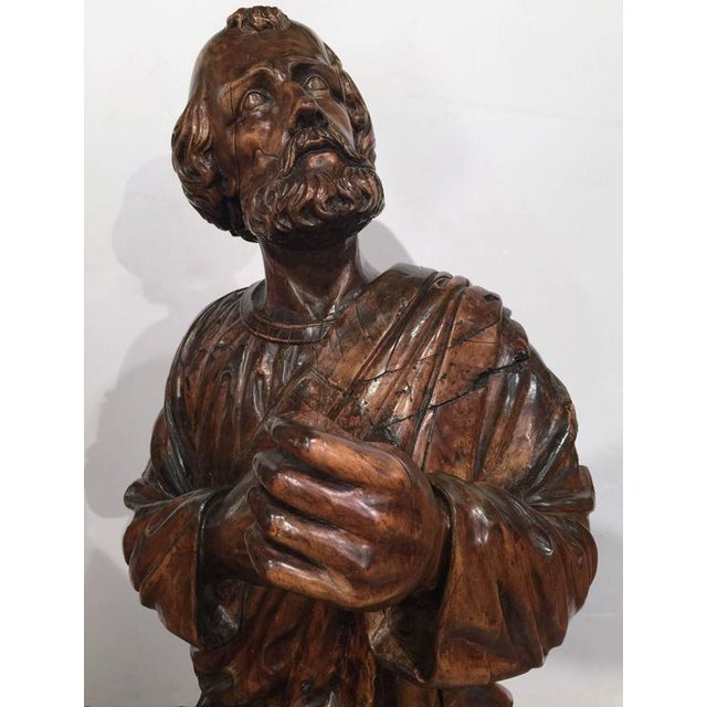 Metal 18th Century French Carved Walnut Statue of Saint Peter Kneeling For Sale - Image 7 of 10