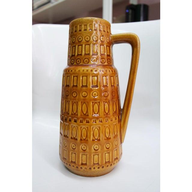 1960s Mid-Century West German Scheurich Keramik Inka Mustard Ceramic Pitcher For Sale - Image 9 of 10
