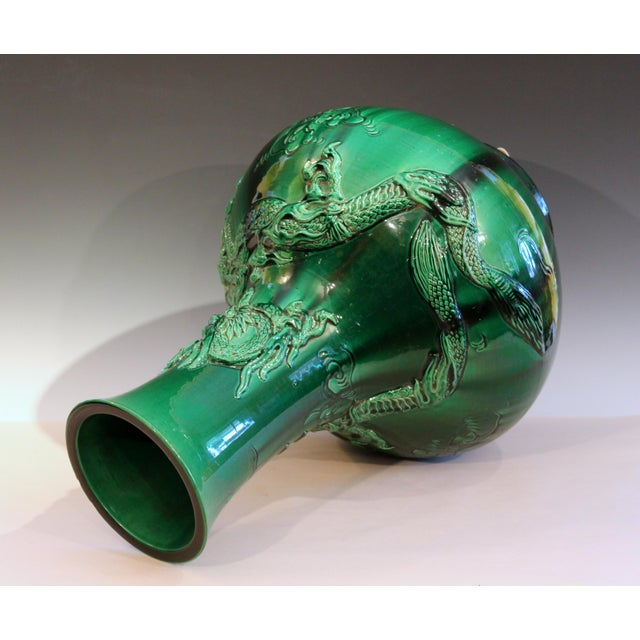 """Antique Japanese Awaji Pottery Green Dragon Vase 25"""" For Sale In New York - Image 6 of 11"""