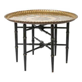 Turkish Round Brass Charger Side Table For Sale