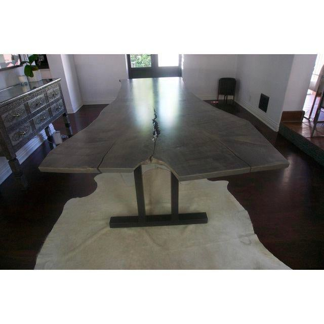 Metal Live Edge Grey Wood Dining Room Table For Sale - Image 7 of 8