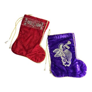 Vintage Silk Viscose Velvet Holiday Stockings - a Pair For Sale