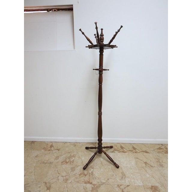 Vintage Spindle Carved Pine Coat Tree - Image 2 of 8
