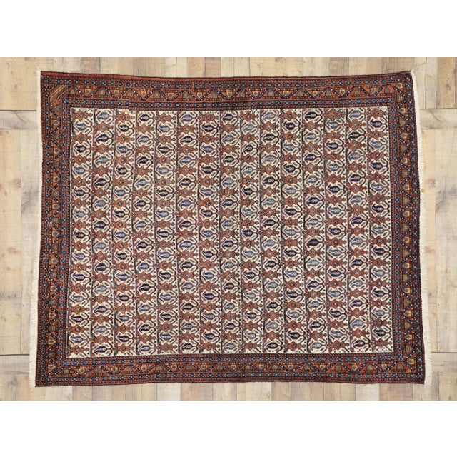 Blue Antique Persian Afshar Rug - 05'01 X 06'03 For Sale - Image 8 of 9
