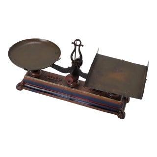 Antique Cast Iron & Brass Kitchen Balance Scale For Sale