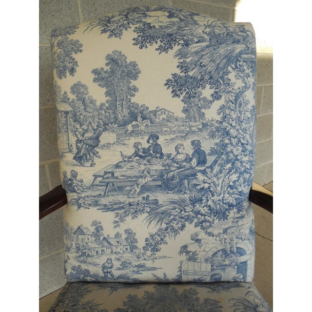 Blue Toile Arm Chairs - A Pair - Image 6 of 10