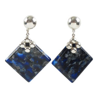 Silver Plate and Blue Lucite Dangle Clip-On Earrings For Sale