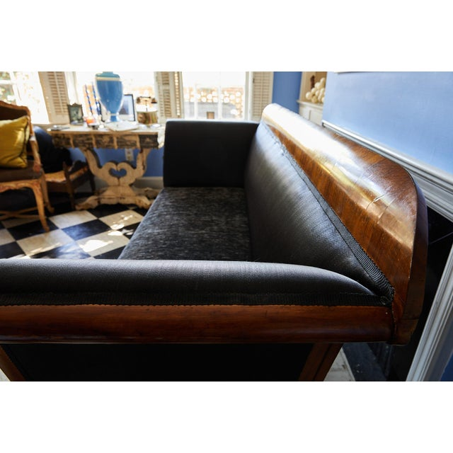 Black Early 19th Century Biedermeier Sofa of Cherry in Black Horsehair Fabric For Sale - Image 8 of 12