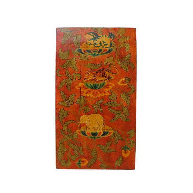 Chinese Tibetan Vintage Elephant Tiger Animal Graphic Wood Wall Panel For Sale