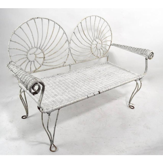 White Nautilus Shell Back Wicker and Iron Garden Bench For Sale - Image 8 of 11