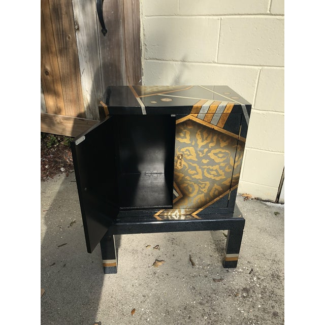 1980s Vintage Hand-Painted Black and Gold Cabinet For Sale - Image 5 of 9