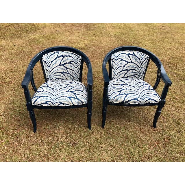 Brunschwig and Fils Navy & White Fabric Chairs - A Pair - Image 5 of 5