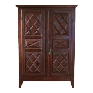Original Louis XIII-Style Two-Door Armoire Cabinet, French, 19th Century For Sale