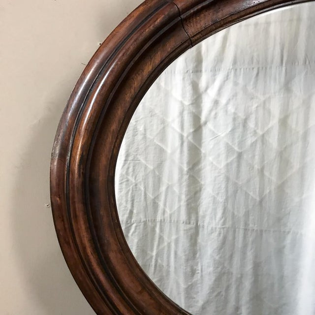 19th Century French Louis XVI Walnut Oval Mirror For Sale - Image 9 of 13