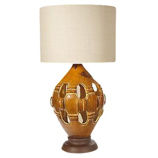 1960s Reticulated Ceramic Table Lamp For Sale