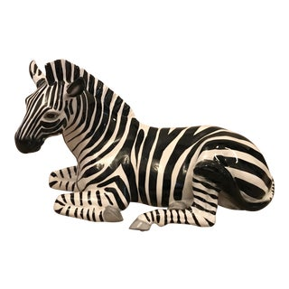 Italian Ceramic Mid-Century Zebra Figurine For Sale