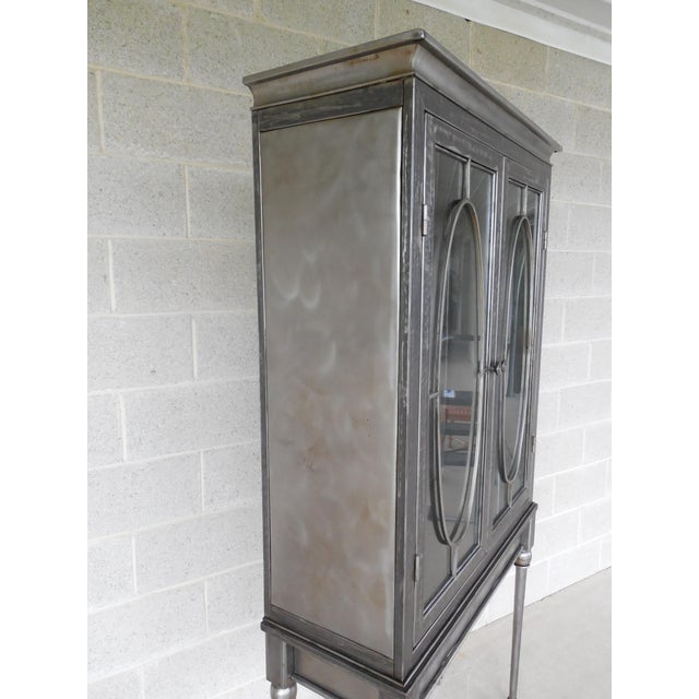 Modern Welded Steel Designer 2 Door Display Cabinet For Sale - Image 9 of 13