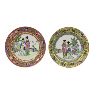 Hand Painted Chinese Plates - A Pair