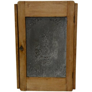 19th Century French Punched Zinc and Wood Wall Cabinet For Sale