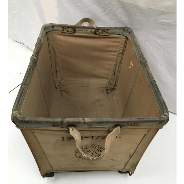 Vintage McElmoyl Industrial Canvas Laundry Basket For Sale - Image 4 of 11