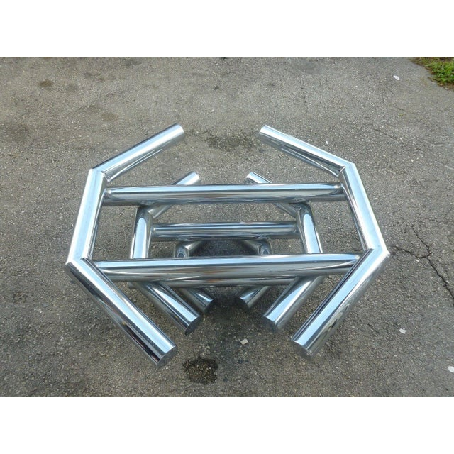 Chrome Incredible 70's Stacked Architectural Chrome Tubular Coffee Table Base For Sale - Image 7 of 9