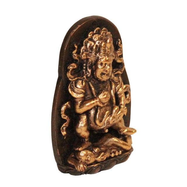 2010s Chinese Handmade Metal Tibetan Zambala Jambhala Pendant Display For Sale - Image 5 of 7