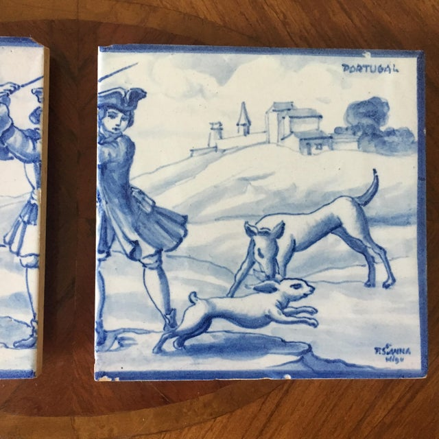 Vintage Portuguese Blue and White Tiles-A Pair For Sale - Image 4 of 8