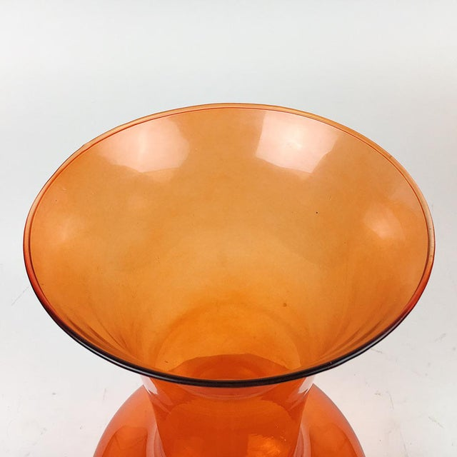 Vintage Oversized Blown Glass Orange Vase - Image 6 of 6