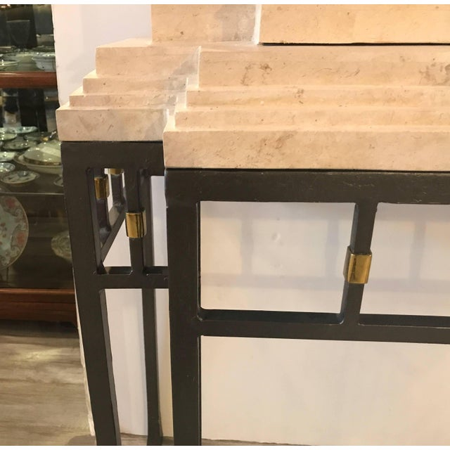 Maitland Smith Greek Revival Sandstone Bar on Stand For Sale - Image 9 of 11