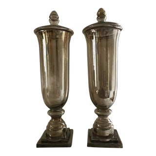 Modern Smoke Amber Colored Glass Urns With Tops - A Pair