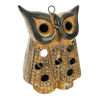 Mid Century Pottery Owl Hanging Candle Holder For Sale
