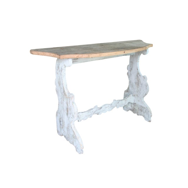 Italian Demilune Trestle Style Console Table For Sale